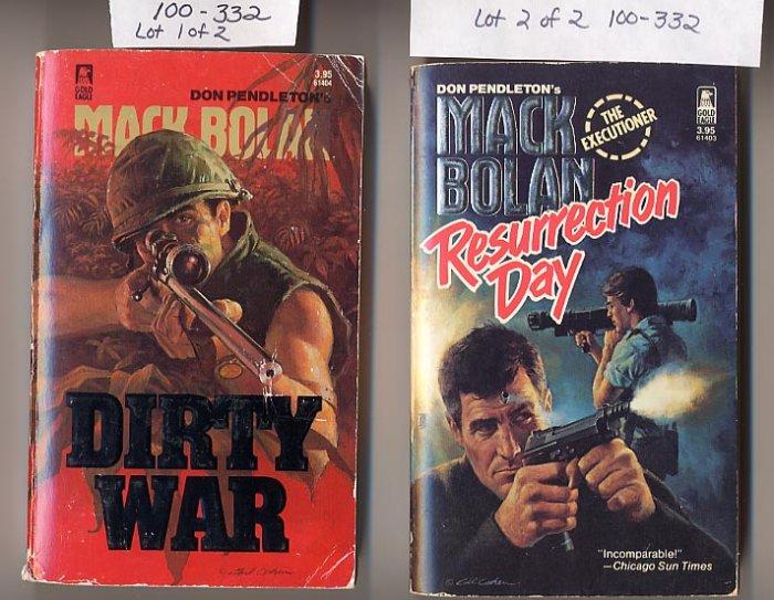 Lot of 2 Don Pendelton Mack Bolan, Resurrection Day, Dirty War PB