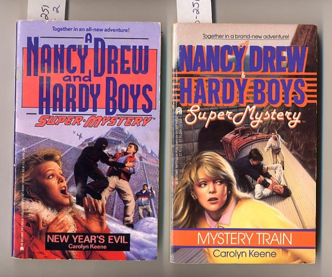Lot of 2 Nancy Drew Hardy Boys New Year's Evil, Mystery Train PB