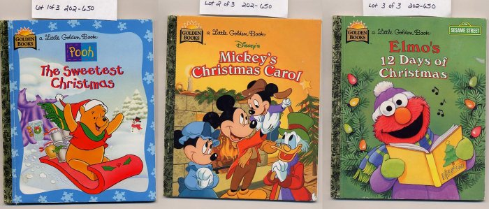 Lot of 3 Golden Books Elmo's 12 Days, Pooh the Sweetest Christmas, Mickey's Christmas Carol HC