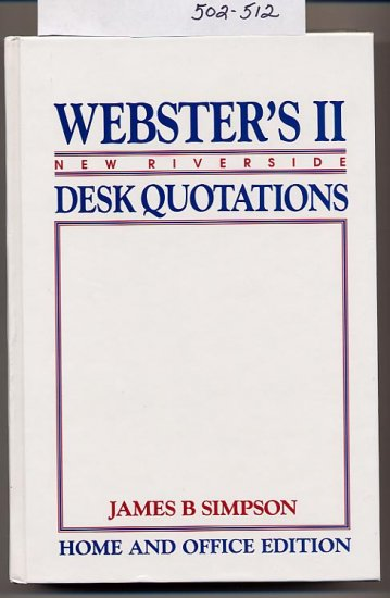 Webster�s II New Riverside Desk Quotations HC