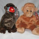 Set of 2 Ty Beanie Babies Cheeks the Baboon and Bongo the Monkey