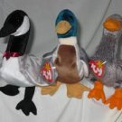 Set of 3 Jake the Duck, Loosy the Goose, Honks the Goose Ty Beanie Babies