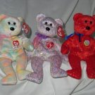 Set of 3 Decade 10 Year Bear, Celebrate 15 Year Bear, 2001 Signature Bear Ty Beanie Babies
