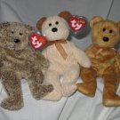 Set of 3 Harry the Bear Huggy the Bear Cashew the Bear Ty Beanie Babies