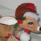 Annalee Reindeer with Santa Hat lying down 1992
