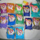 Set of 12 McDonalds Teenie Beanie Babies in Original Bags