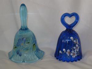 Fenton Art Glass Set of 2 Mini Bells Cobalt Blue and Blue Topaz