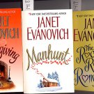 Lot of 3 Janet Evanovich Thanksgiving, Manhunt, Rocky Road to Romance PB