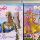 Lot of 2 Barbie Little Golden Rapunzel Books and Three Musketeers