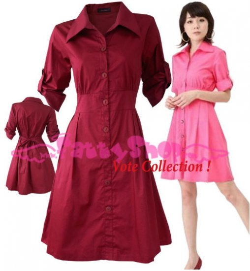 XXL*RED*Dress ((VOTE Collection)) Tie knot behind Cotton+Spendex Side 1F 42 inch chest*FREE SHIP!!