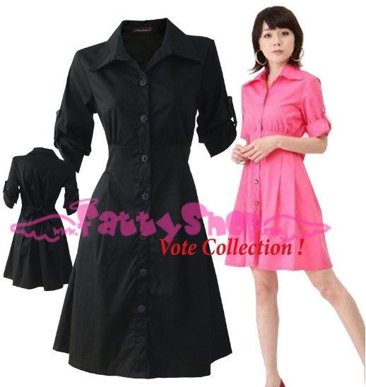 "XXXXL*BLACK*Dress ((VOTE Collection)) Tie knot behind Cotton+Spendex Size3F 50"" chest*FREE SHIP!!"