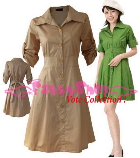 "XXXL*BROWN*Dress ((VOTE Collection)) Tie knot behind Cotton+Spendex Side2F 46"" chest*FREE SHIP!!"