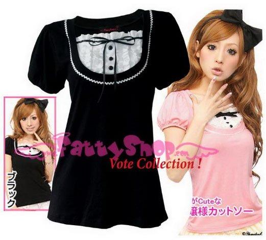"XXXL*BLACK*T-shirt ((VOTE Collection)) chest drain & knot INTERIOC COTTON 2F 46"" chest*FREE SHIP!!"