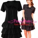 XXL*BLACK*Dress ((VOTE Collection)) 3step drain+neck knot Cotton Com 1F 42 inch chest*FREE SHIP!!