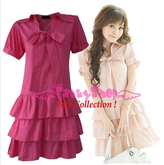 XXXL*PINK*Dress ((VOTE Collection)) 3step drain+neck knot Cotton Com 2F 46 inch chest*FREE SHIP!!