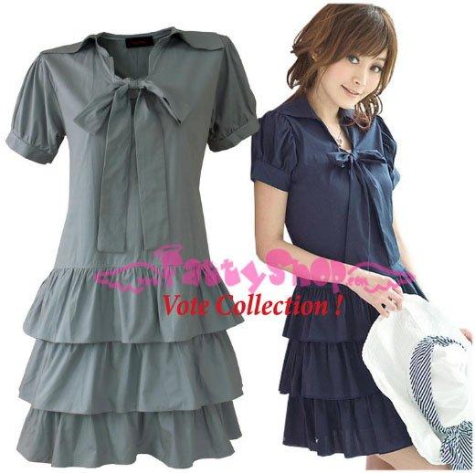XXXL*GRAY*Dress ((VOTE Collection)) 3step drain+neck knot Cotton Com 2F 46 inch chest*FREE SHIP!!