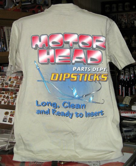 Motor Head Parts Dept. - Dipsticks XLarge T-Shirt Tan