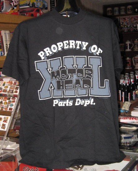 Property of Motor Head Parts Department Black Tshirt Large