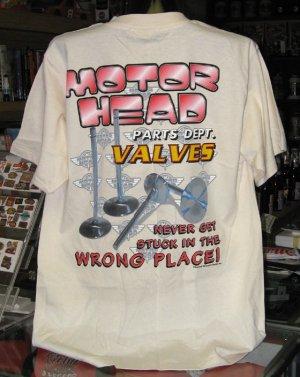 Motor Head Parts Dept. VALVES Tan Large Tshirt