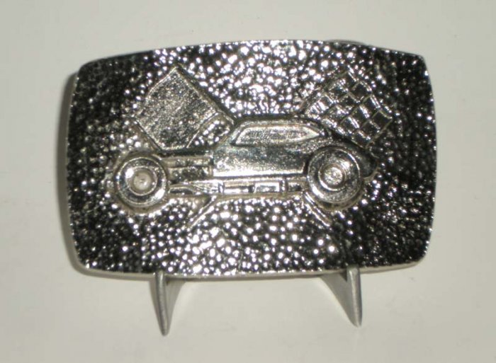 Pinto Race Car Modified Belt Buckle Silvertone