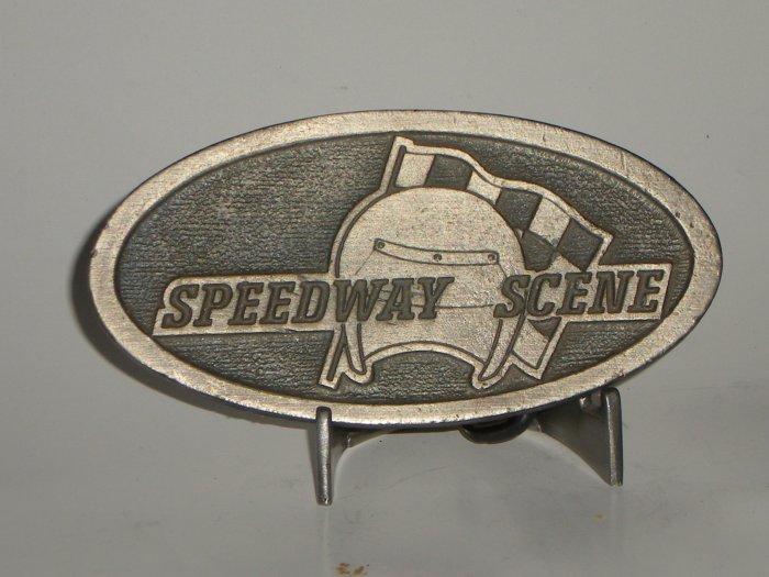 Speedway Scene  Belt Buckle Auto Racing