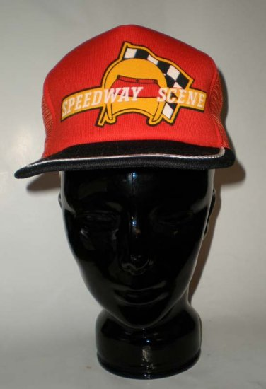 Speedway Scene Orange Adjustable Cap Hat Auto Racing