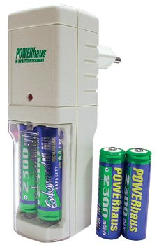 Powerhaus AA battery charger w/ 4 bonus AA rehargeable batteries