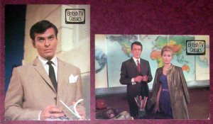 2 Postcards for the tv-series THE CHAMPIONS - Stuart Damon, Alexandra Bastedo & William Gaunt