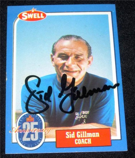 1988 SWELL SID GILLMAN AUTOGRAPH w/FREE SHIPPING!