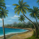"24x36"" Palm Trees Near the Ocean Oil Painting on Canvas"