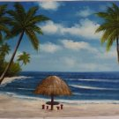 """36x48"""" Palm Trees and Palapas Oil Painting on Canvas"""