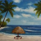 """24x36"""" Palm Trees and Palapas Oil Painting on Canvas"""