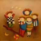 "New Hand-Made 20x24"" 'Playing Children' Oil Painting on Canvas"