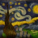 "New Hand-Made 20x24"" Starry Night Oil Painting on Canvas"