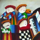 "New Hand-Made 20x24"" 'Musicians' Oil Painting on Canvas"