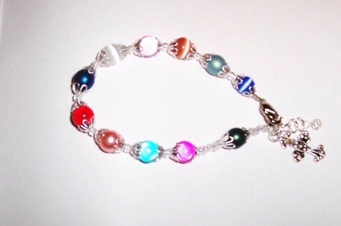 rainbow rosary bracelet