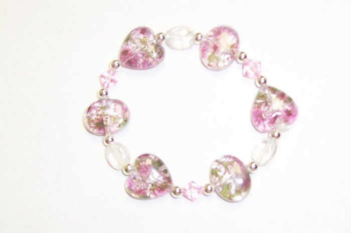 Pink Hearts glass stretch bracelet