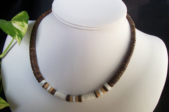 Dark Brown Puka Shell Necklace