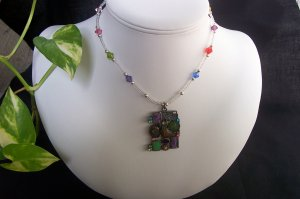 Rainbow Collage Necklace