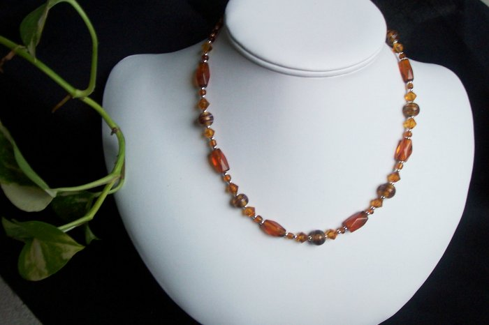 Brown and Topaz Glass Necklace