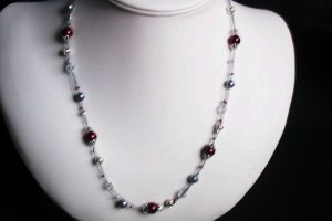 Burgundy and Silver Slide Necklace