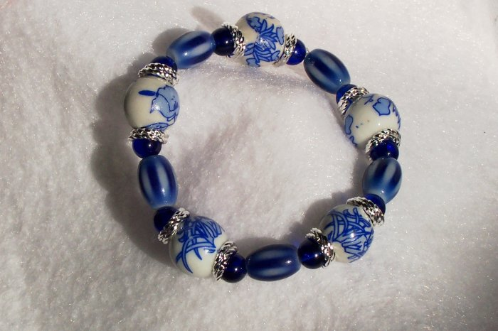 Blue Floral Stretch Bracelet
