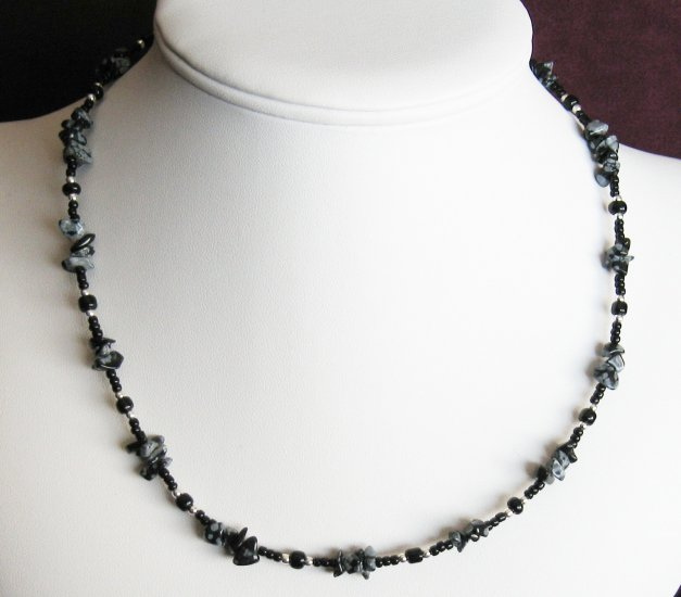 Snowflake Obsidian Chip Necklace