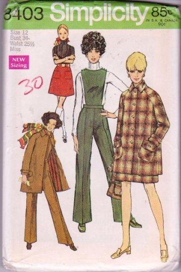 Simplicity Misses Sewing Pattern 8403 Mini-Coat Skirt Pants W/ Detachable Bib 1969 Vintage SZ 12