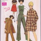 Simplicity Misses Sewing Pattern 8403 Mini-Coat Skirt Pants W/ Detachable Bib 1969 Vintage SZ 12