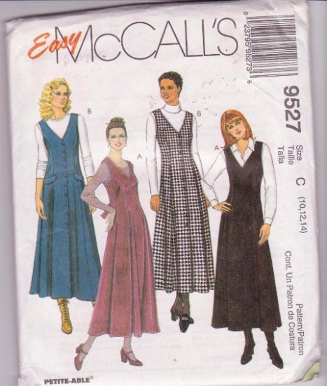 McCall�s Sewing Pattern 9527 Misses Jumpers Sizes 10 12 14 Dated 1998