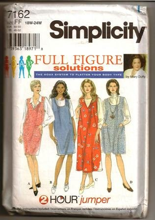 Simplicity Sewing Pattern 7162 Full Figure 18W-24W Woman�s Jumper Dated 1996