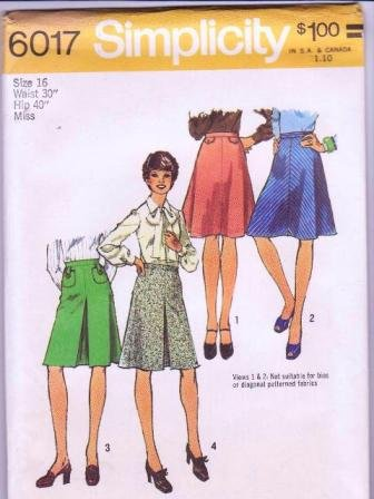 Simplicity Uncut Sewing Pattern 6017 Vintage1973 Misses / Woman�s Skirts Size 16