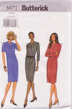 Butterick 3671 Size 12-16 Misses / Petite Straight Dress Pattern Uncut Dated 2002
