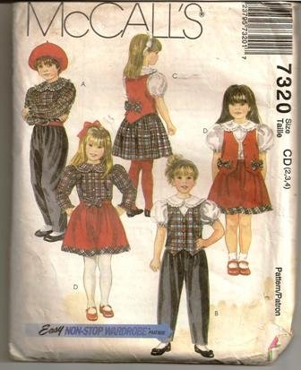 McCall�s 1994 Sewing Pattern 7320 Children�s Girls Pants Skirt Blouse Lined Vest Sizes 2-4 Uncut